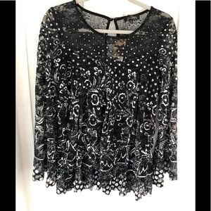 Suzanne Betro sheer floral and polka dots blouse!